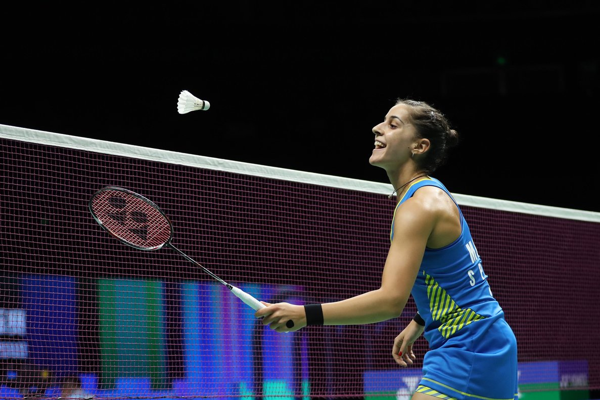 Nanjing (China), 04/08/2018.- Carolina Marin of Spain in action during her womens singles semi-final match against He Bingjiao of China at the 2018 BWF (Badminton World Federation) World Championships in Nanjing, China, 04 August 2018. (España) EFE/EPA/YANGBO CHINA OUT