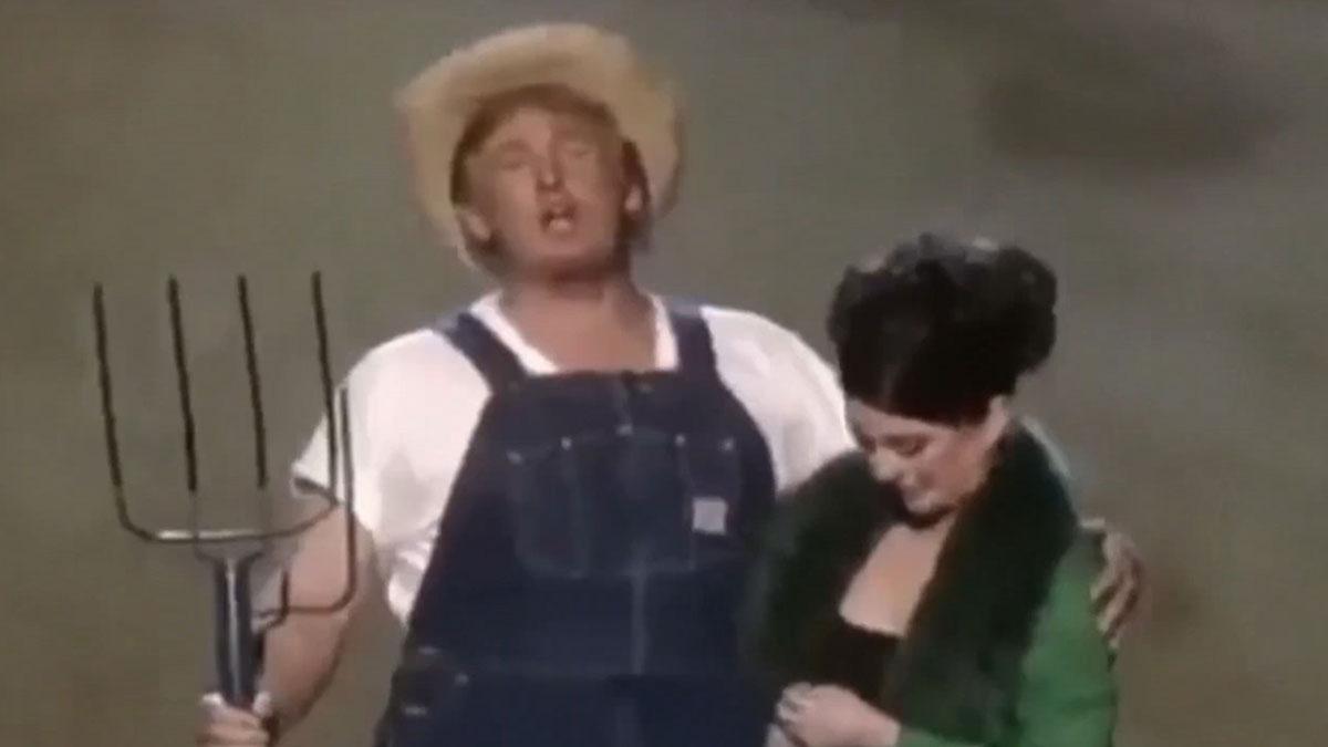 Trump comparte un vídeo disfrazado de granjero para anunciar ley agrícola.