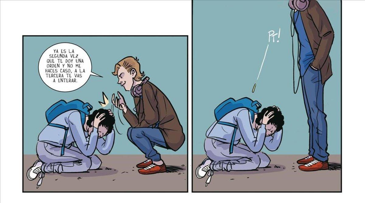 Una página del cómic 'Subnormal: una historia de acoso escolar', que narra el 'bullying' que sufrió el exjugador de la ACBIñaki Zubizarreta.