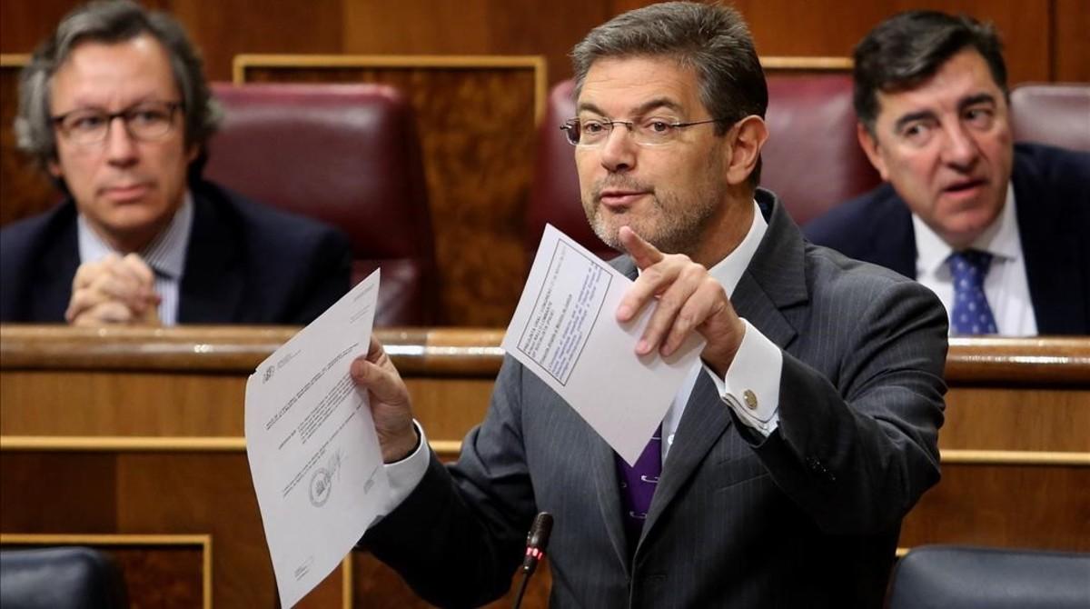 El ministro de Justicia, Rafael Catalá, en la sesión de control al Gobierno del Congreso.