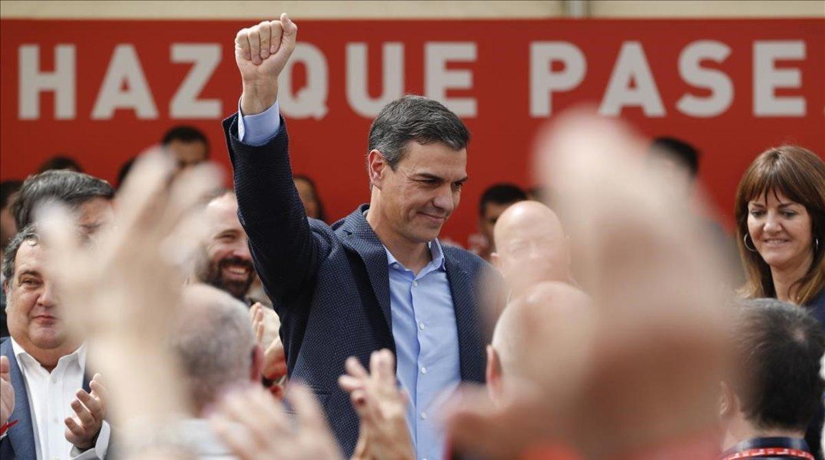Pedro Sánchez en un acto electoral.