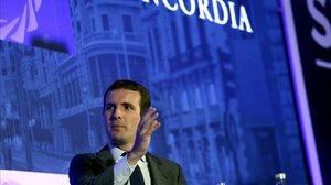El presidente del Partido Popular, Pablo Casado,participa en el Concordia Europe Amcham Spain Summit