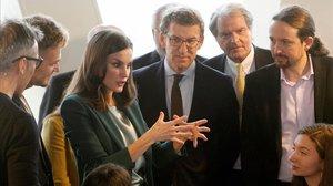 Pablo Iglesias i la reina Letícia, junts, a Galícia per a un premi solidari