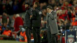Valverde, en Anfield durante el Liverpool-Barça que le echó de la Champions.