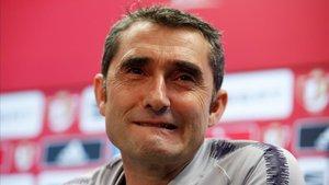 Valverde, en la rueda de prensa previa a la final de Copa.