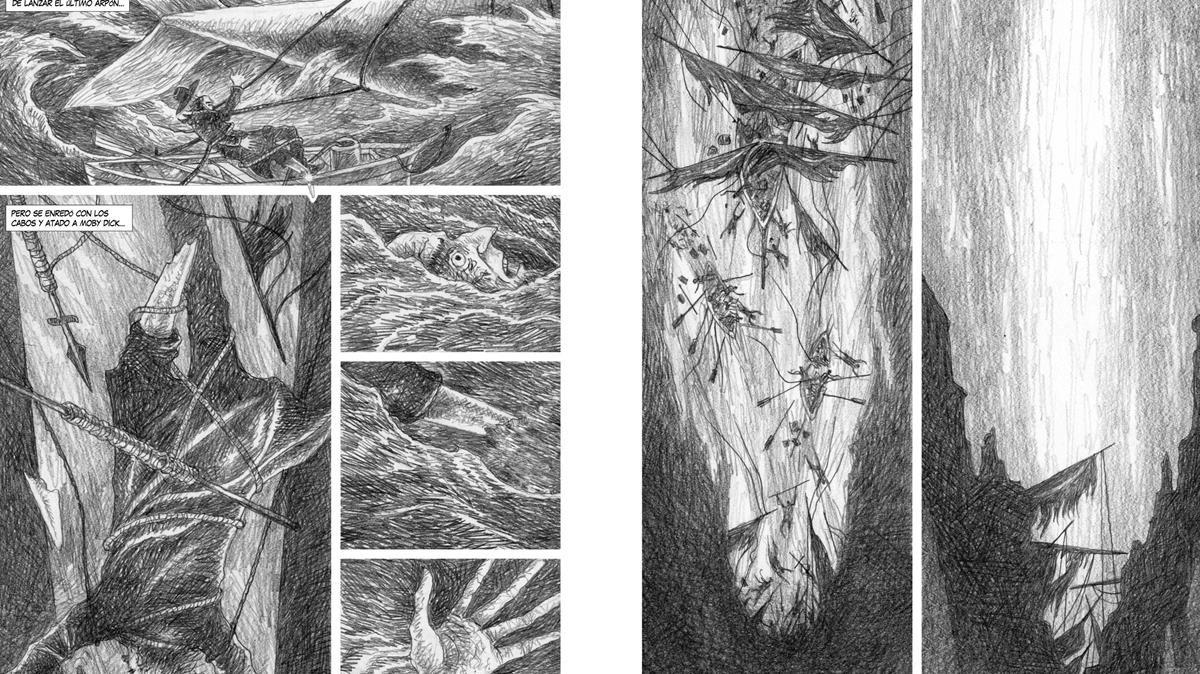 Doble páginadel cómic 'Moby Dick', de José Ramón Sánchez.