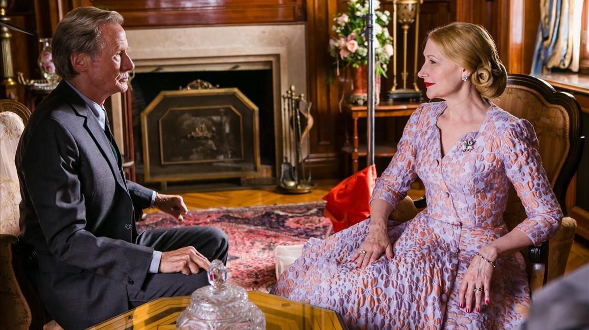Bill Nighy y Patricia Clarkson, durante el rodaje de la película.