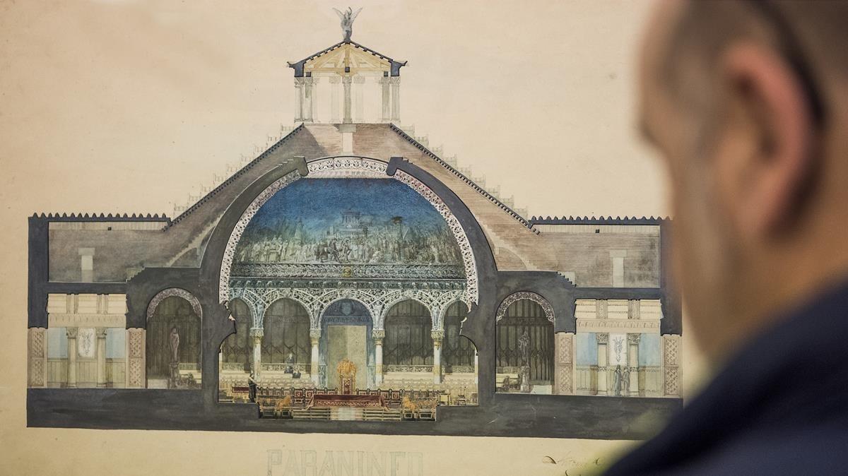 Uno de los dibujos que conserva la Cátedra Gaudí.