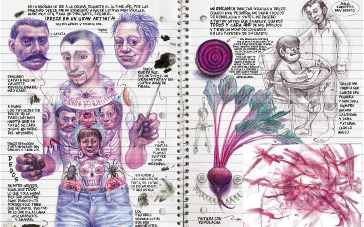 Doble página de 'Lo que más me gusta son los monstruos', de Emil Ferris.
