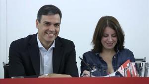 Pedro Sánchez preside la reunión de la Ejecutiva del PSOE.
