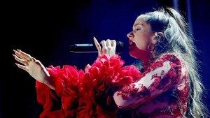 Rosalía, en una actuación en Madrid el 31 de octubre del 2018.