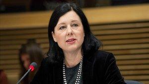 La comisaria europea Vera Jourova, en una reciente comparecencia.