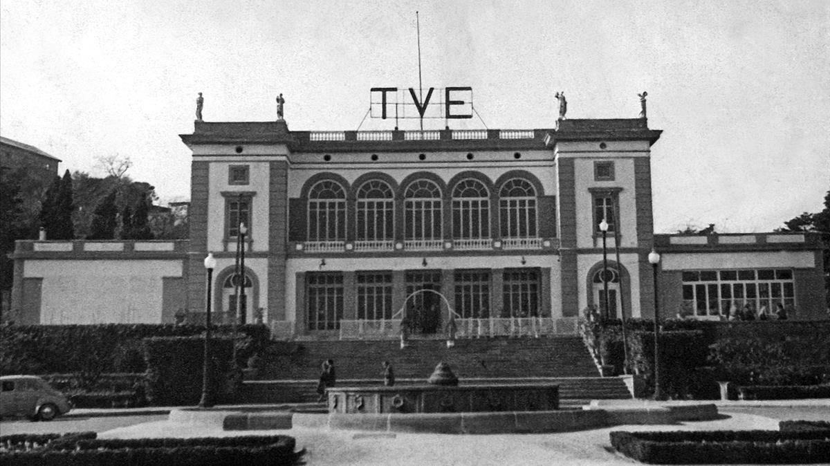 Imagen histórica de Miramar en los años 60, el primer centro de TVE en Montjuïc.