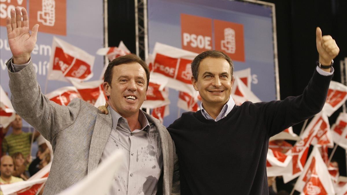 Joan Ignasi Pla y José Luis Rodríguez Zapatero en un acto de campaña del PSPV