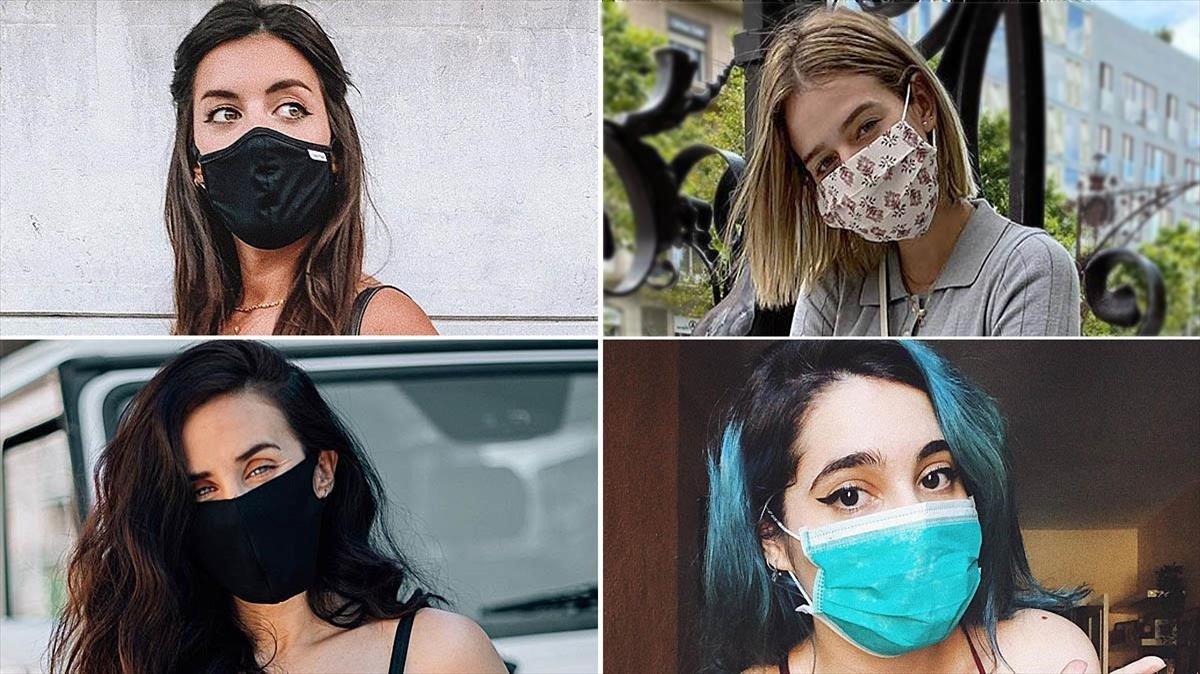 Las 'influencers' Dulceida, Laura Escanes, Patry Jordan y María Herrejón posando con mascarillas, en unas imágenes subidas a sus respectivos Instagrams.