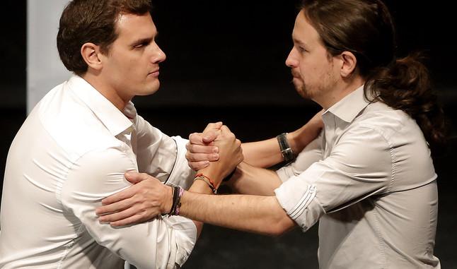 Albert Rivera y Pablo Iglesias, en el debate organizado por la Universidad Carlos III de Madrid el pasado 27 de noviembre.