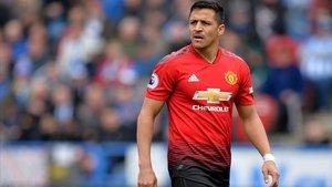 Alexis Sánchez, con la camiseta del United.