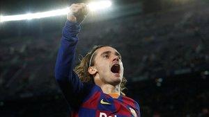 Antoine Griezmann celebrando el primer tanto del partido