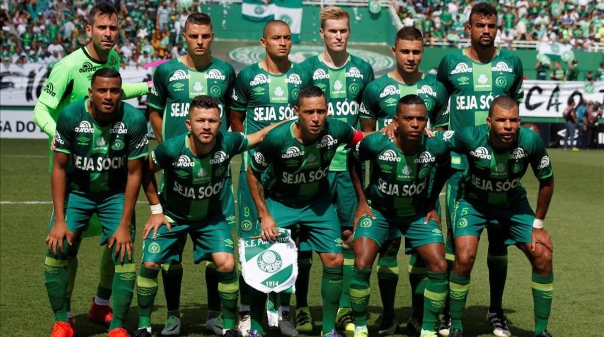 El Chapecoense, antes de un partido contra el Palmeiras.