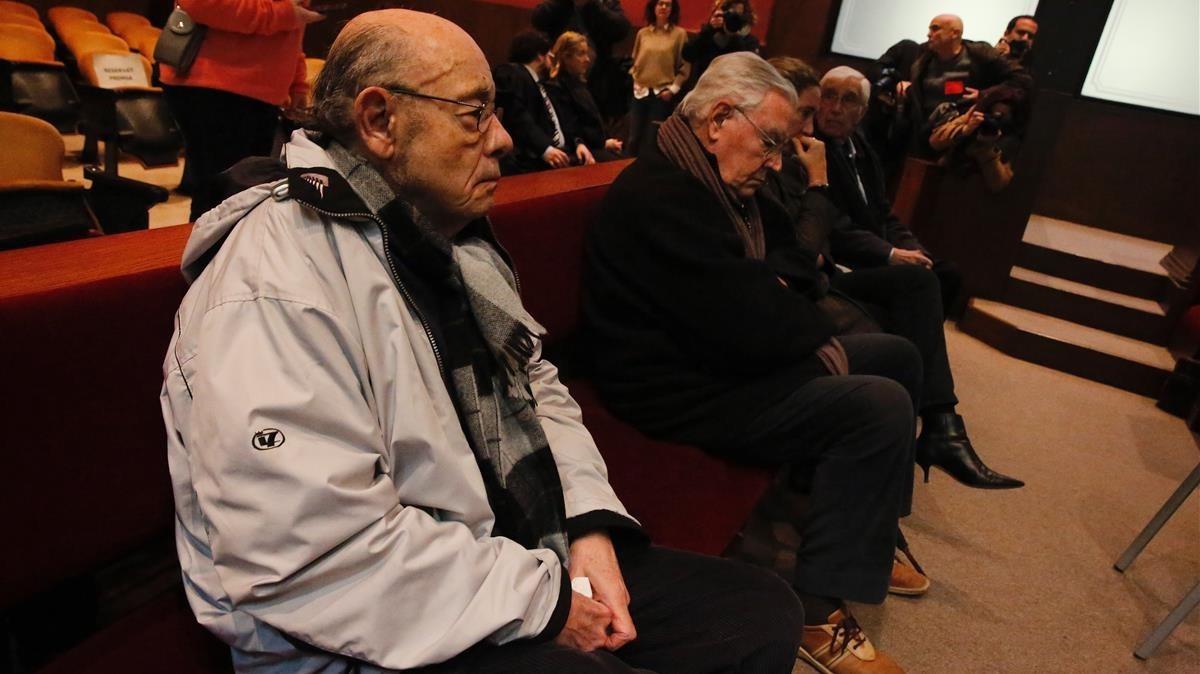 Felix Millet, Jordi y Gemma Montull y Daniel Osàcar en la vista por las medidas cautelares.
