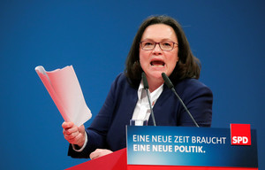 FILE PHOTO: SPD parliamentary group leader Andrea Nahles speaks during the SPD's one-day party congress in Bonn, Germany, January 21, 2018. REUTERS/Wolfgang Rattay/File Photo