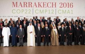 Foto de familia de la conferencia climática que se celebraen Marraketch.