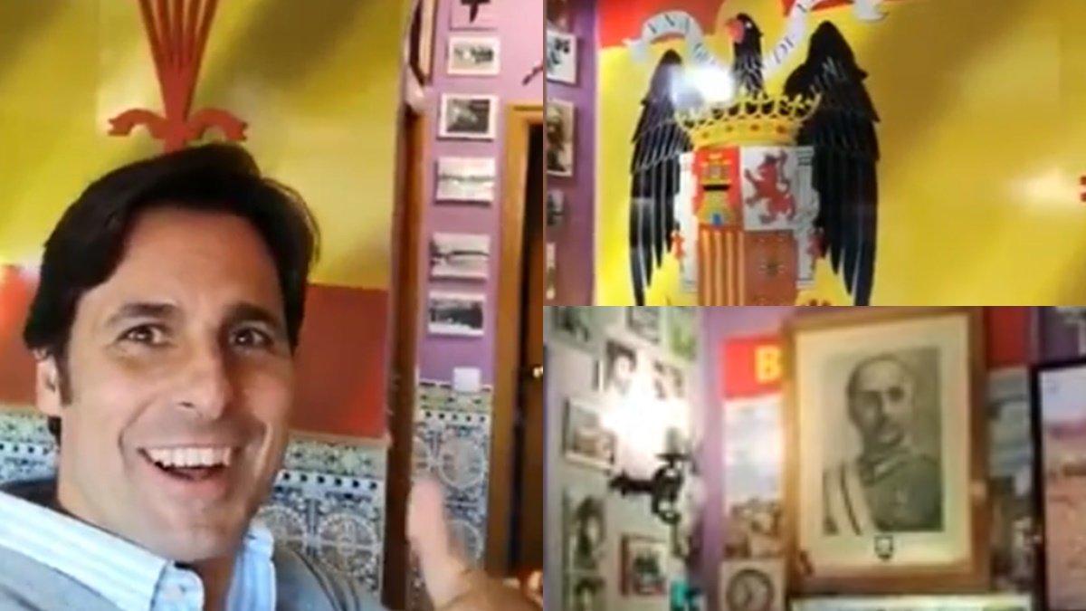 "Fran Rivera graba un vídeo en un bar franquista: ""Viva España, anda que no"""
