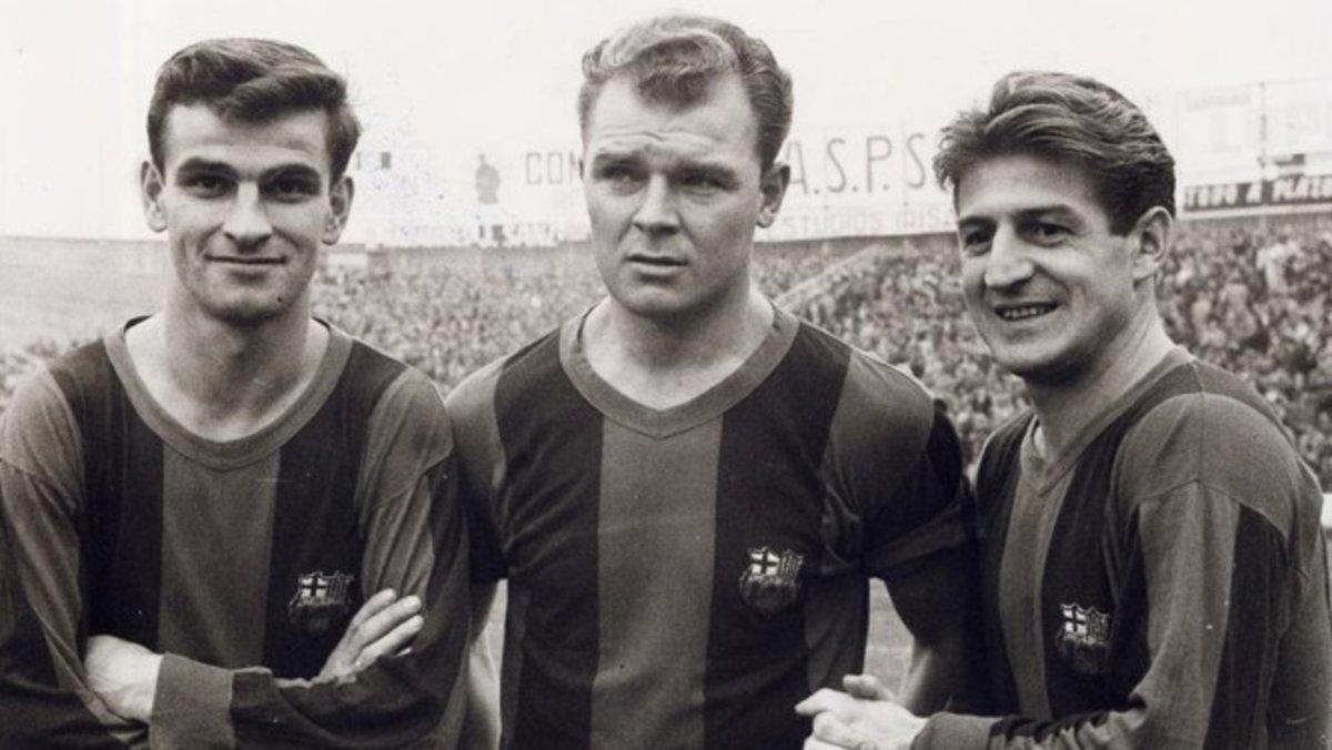 Kocsis, Kubala y Czibor en el Camp Nou.
