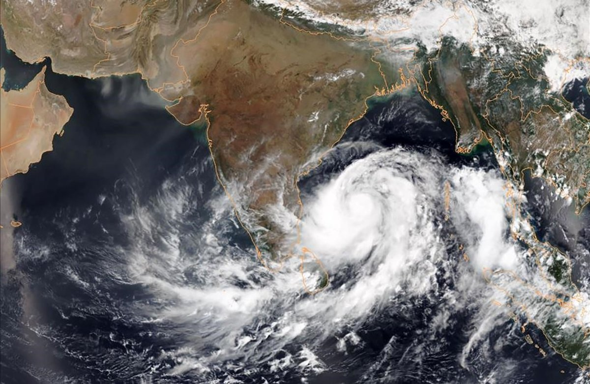 Imagen satélite del ciclón 'Fani' en la Bahía de Bengala.
