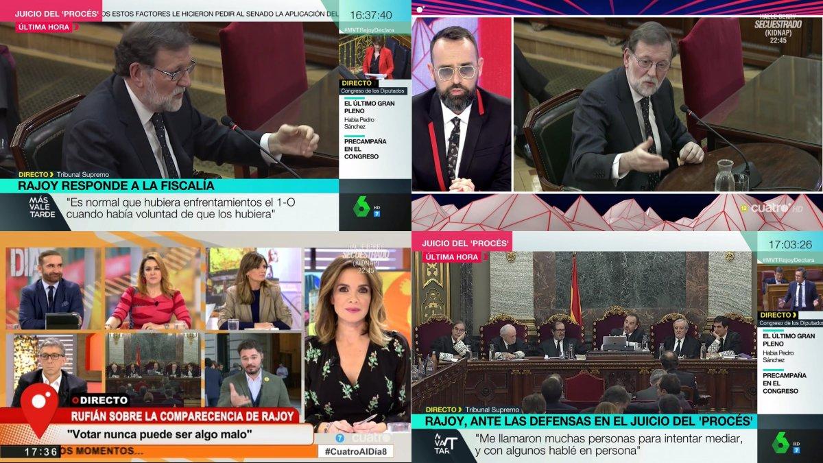 Imágenes de la cobertura de 'Todo es mentira', 'Más vale tarde' y 'Cuatro al día' de la declaración de Mariano Rajoy.