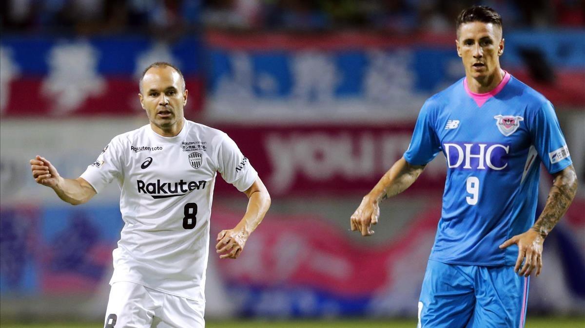 Iniesta y Fernando Torres, en el partido de la Copa del Emperador.