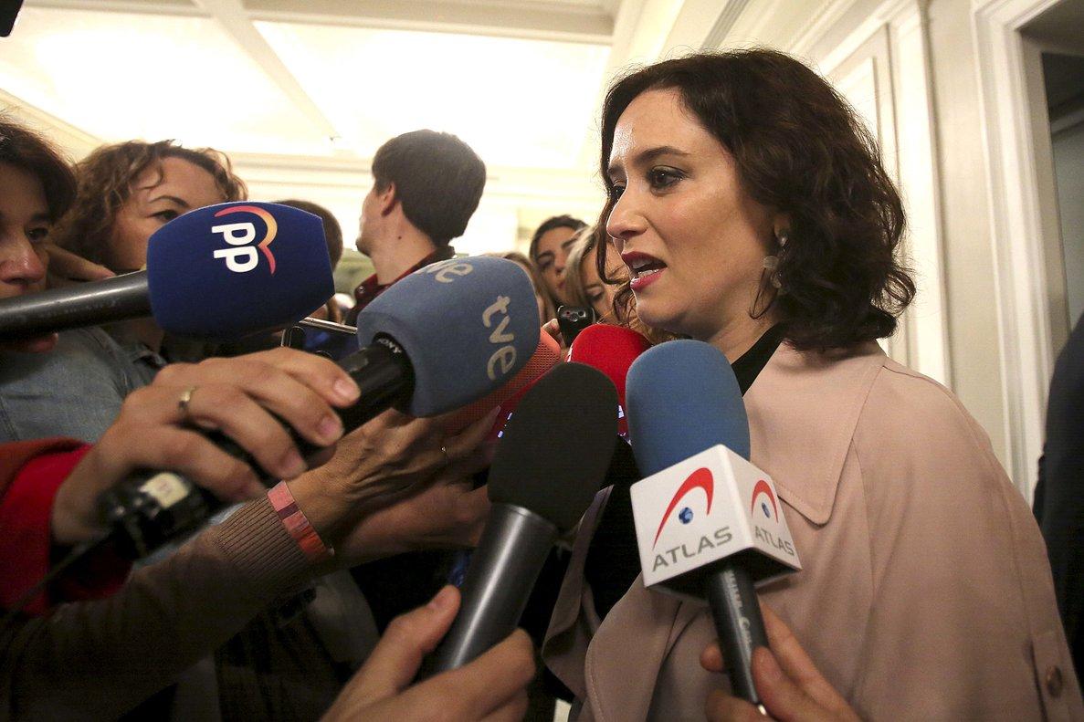 La presidente de la Comunidad de Madrid, Isabel Díaz Ayuso, durante los desayunos informativos de Europa Press celebrados este lunes.