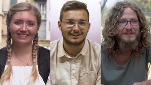 De izquierda a derecha, Sarah, Daniel y Márton. Los tres han sido voluntarios en diferentes proyectos en Cataluña