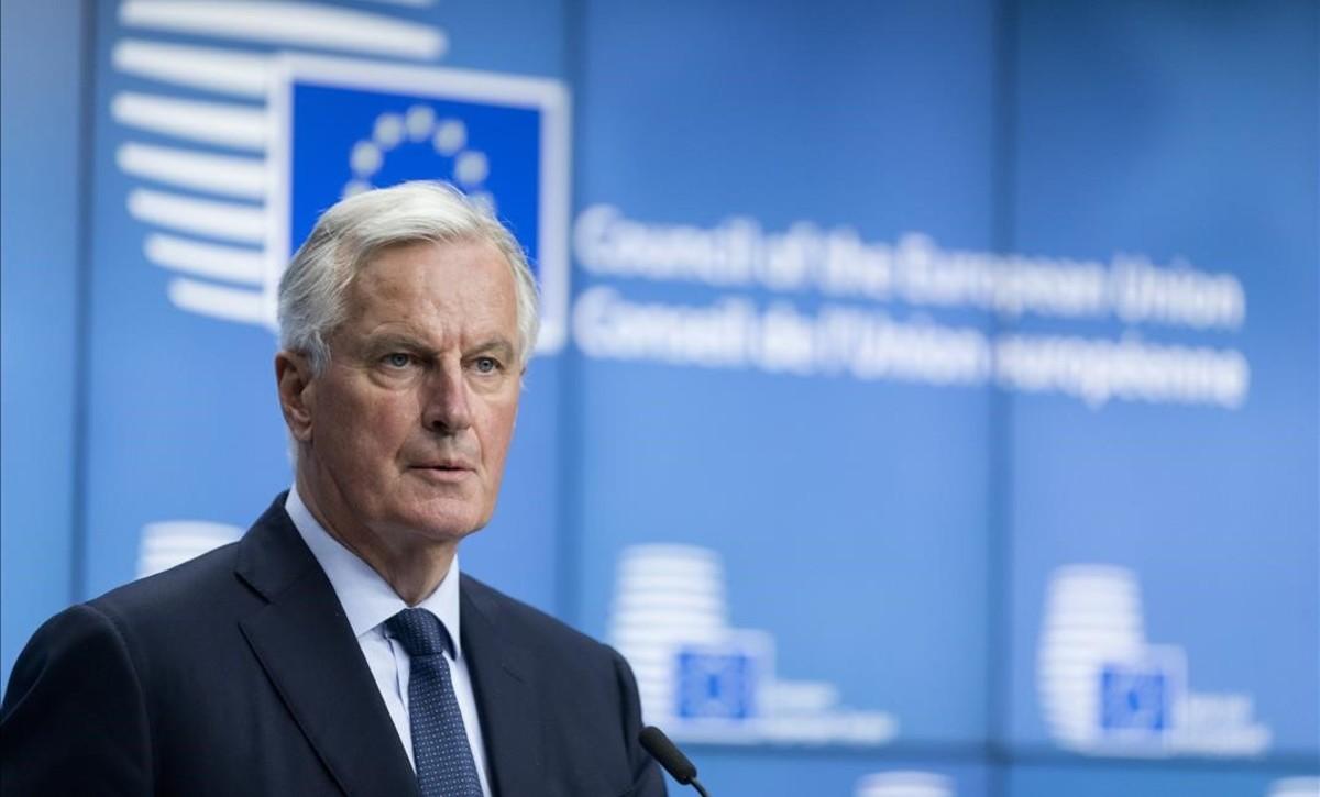 Eljefe de negociaciones de la Comisión Europea con elReinoUnido, Michel Barnier, en una conferencia en Bruselas.