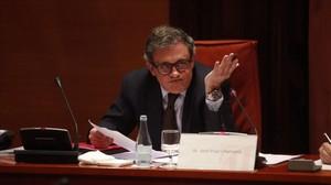 Jordi Pujol Ferrusola, durante su comparecencia en la comisión de investigación del caso Pujol, en el Parlament.