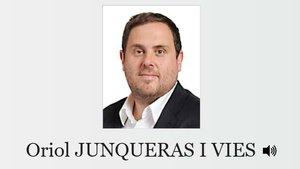 El perfil de Junqueras en la web de la Eurocámara, que incluye la fotografía de su anterior etapa como eurodiputado