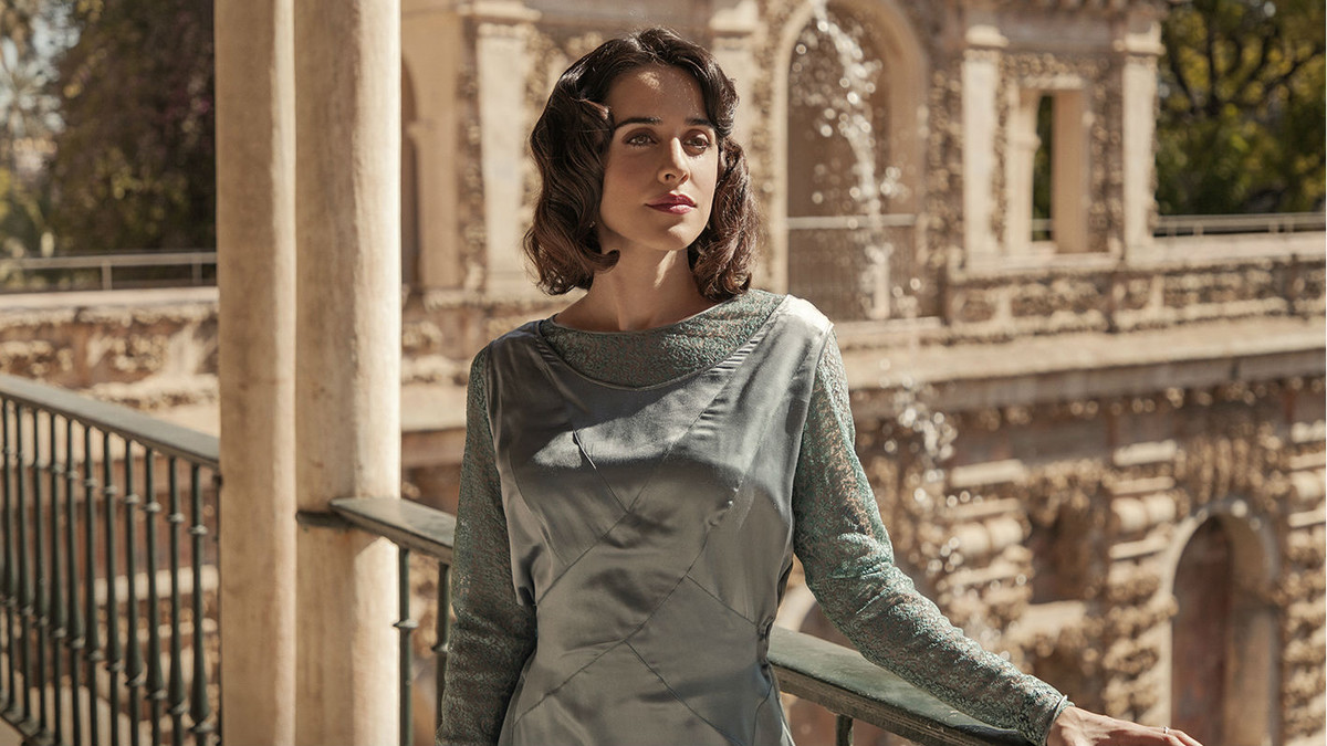 Macarena García durante el rodaje en Sevilla