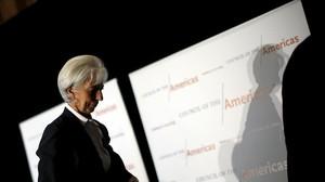 Lagarde, tras pronunciar su discurso en Washington.
