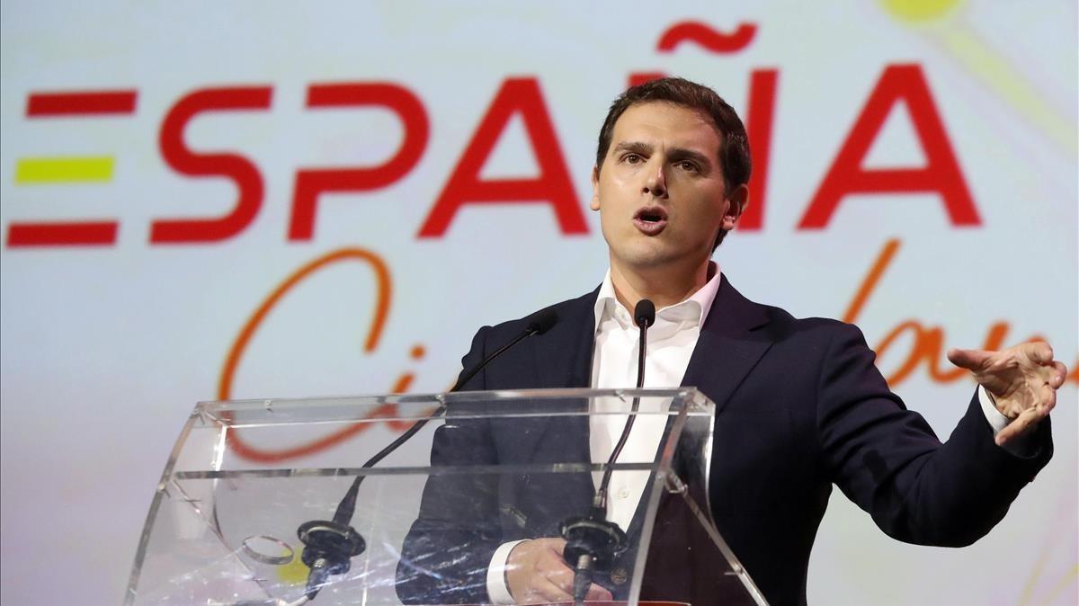 El líder de Ciudadanos, Albert Rivera, durante la presentación de la plataforma ESPAÑA Ciudadana.