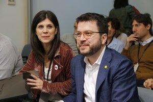 Los dirigentes de ERC Marta Vilalta y Pere Aragonès.