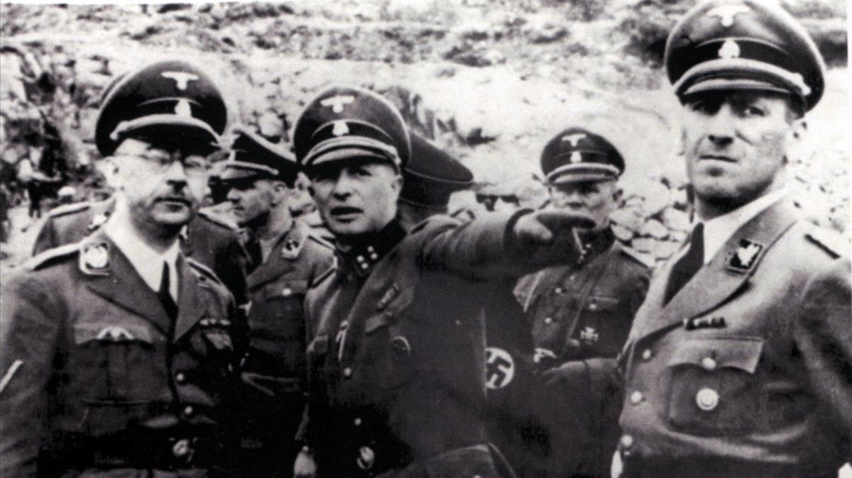 Los líderes nazisHimmler, Ziereis (comandante del campo) y Kaltenbrunner, en la cantera de Mauthausen, una de las pruebas salvadas por Boix y sus compañeros que sirvieron de prueba en los juicios de Núremberg.
