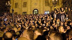Manifestación en apoyo de de Pashinyan, el pasado 3 de octubre.