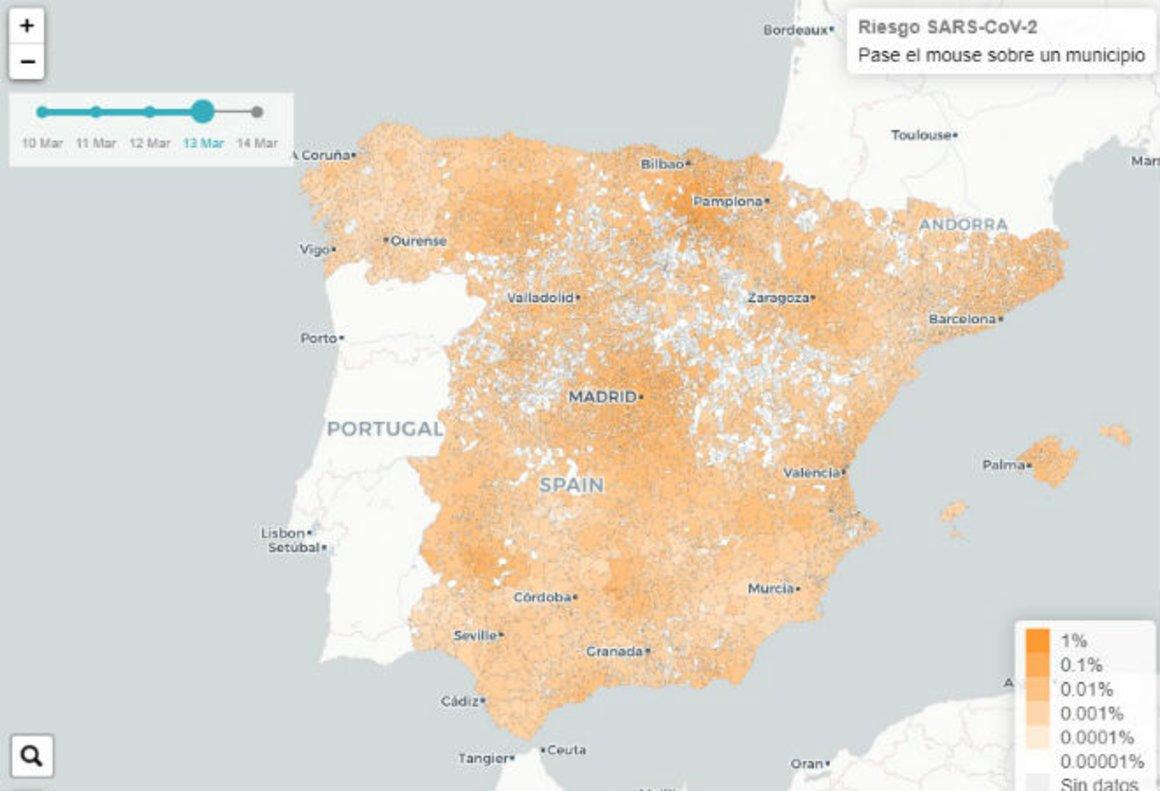 Un Mapa Predice El Riesgo De Coronavirus En Espana A Cuatro Dias Vista