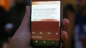 Mensaje SMS enviado por las autoridades canadienses a sus ciudadanos para informar de un accidente nuclear.