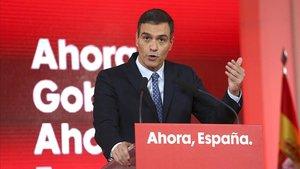 Pedro Sanchez durante el acto de presentaci n del programa electoral del Psoe para las elecciones del 10N