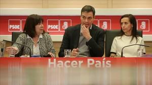 Pedro Sánchez durante la ejecutiva del PSOE en la sede de Ferraz.