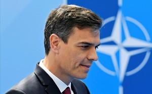 Pedro Sánchez, a su llegada a la sede de la OTAN.