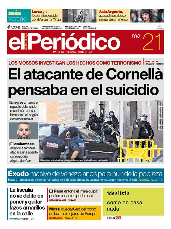 La portada de EL PERIÓDICO del 21 de agosto del 2018