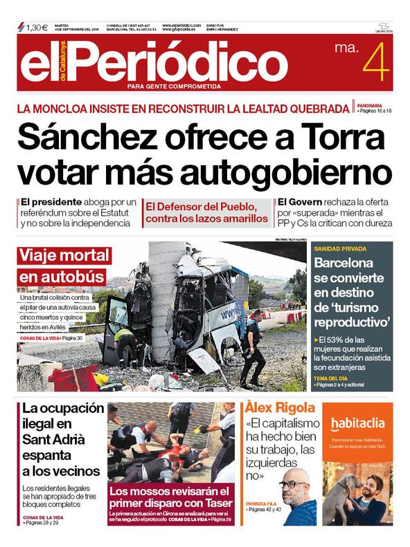 La portada de EL PERIÓDICO del 4 de septiembre del 2018