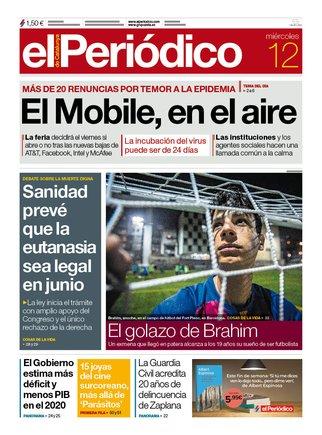La portada de EL PERIÓDICO del 12 de febrero del 2020.